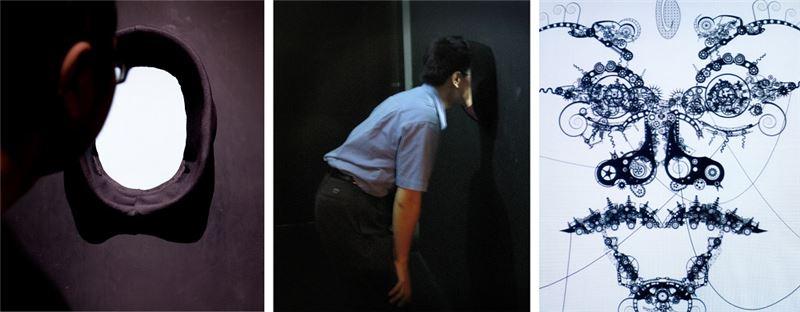 黃心健〈皮相底層〉2008 互動裝置(黑白、有聲) 80×80×75 cm