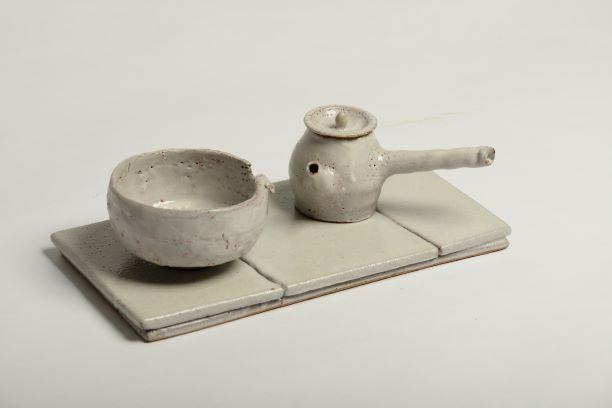 """Tsung-Ju LI    """"The Beauty of Rustic I"""" ceramics wheel-thrown, slab-built pot: 15×10×7 cm tray: 14×27×0.6 cm bowl: Ø10×6 cm    Not in pursuit for perfection! Nor for producing publicity by keeping in low profile! The kind of pottery that has moved along with time would eventually give birth to natural rustic beauty. It is closer to human hearts and making people around more at ease."""