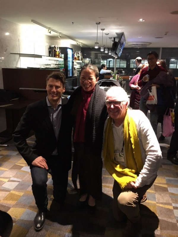 From left to right: Vancouver Mayor Gregor Robertson, Legend Lin Artistic Director Lin Lee-chen, and PuSh Festival Artistic Director Norman Armour.