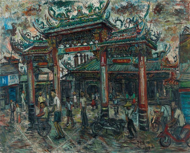 陳來興〈鹿港天后宮〉1992 油彩、畫布 120×162 cm