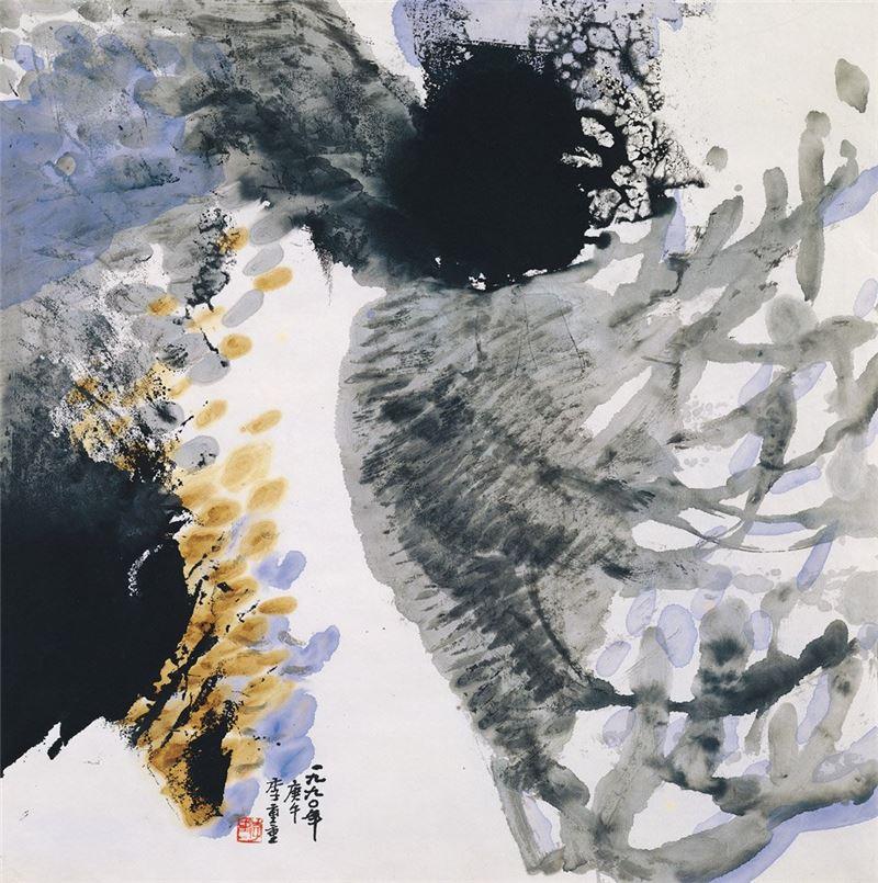 李重重〈颱風眼〉1990 水墨、紙本 68.1×68.2 cm
