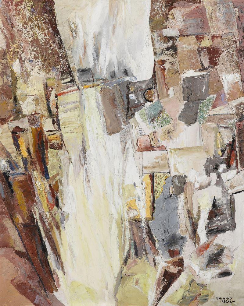 國美館典藏之莊世和作品〈山的嗚咽〉1988, 油畫91.0 x 72.5 cm