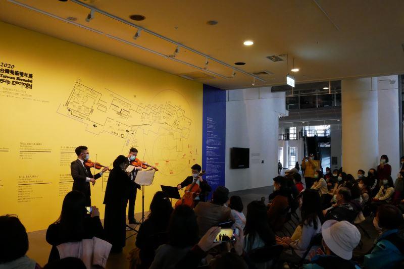 國美館今舉辦「經典再現」週日午後音樂會,由NTSO台灣青年交響樂團的_弦樂四重奏喚醒台灣繪畫之美