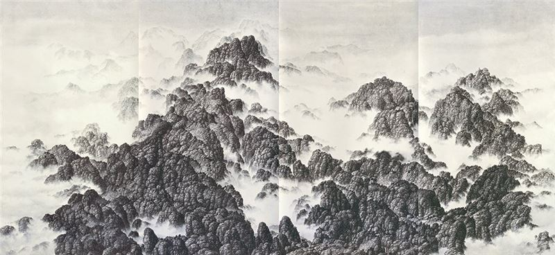 Hsia Yi-fu〈Peaks〉1995 Ink on paper 103.2×222.8 cm