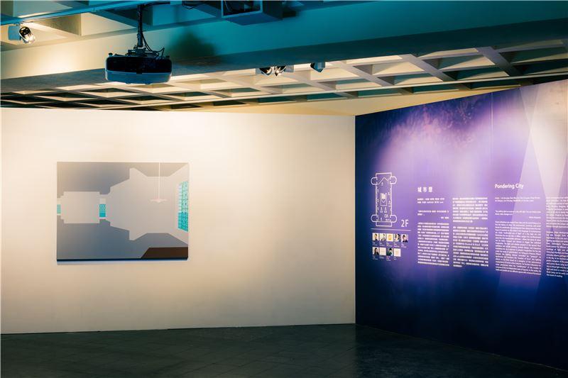 影像裝置複合了繪畫與投影,將空間抽象化,時間具象化