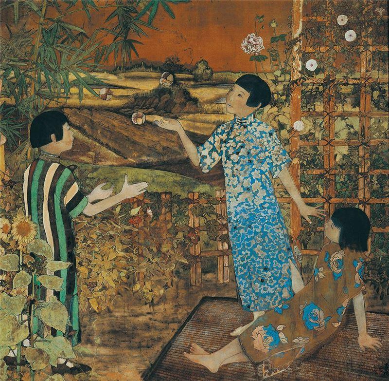 薛萬棟〈遊戲〉1938 膠彩、絹本 169×173.5 cm