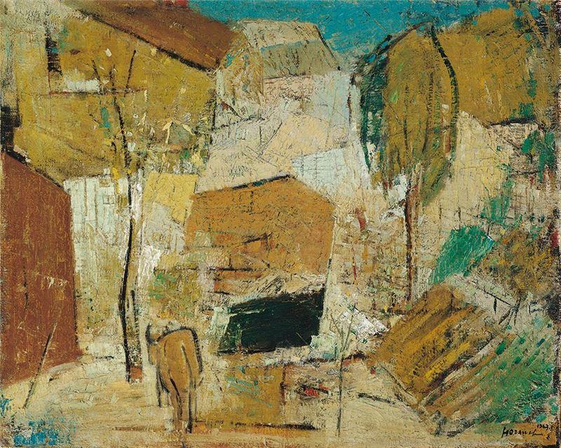 何肇衢〈鄉村(南庄)〉1963 油彩、畫布 77×95 cm