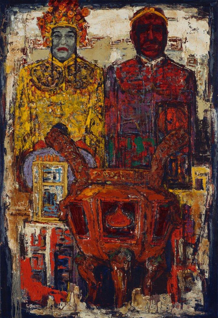 廖修平〈廟神(二)〉1964 油彩、畫布 163×111.7 cm