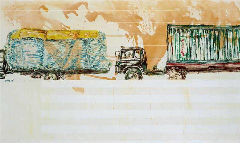 陳水財〈卡車之二〉1980 複合媒材 89×146 cm