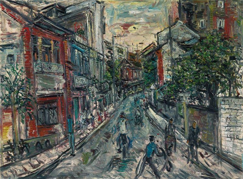 陳來興〈淡水老街〉1990 油彩、畫布 97×130 cm