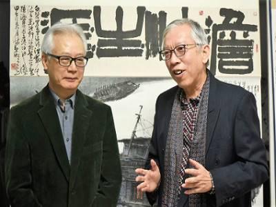 國父紀念館梁永斐館長(右)與林章湖教授暢談展覽規劃理念