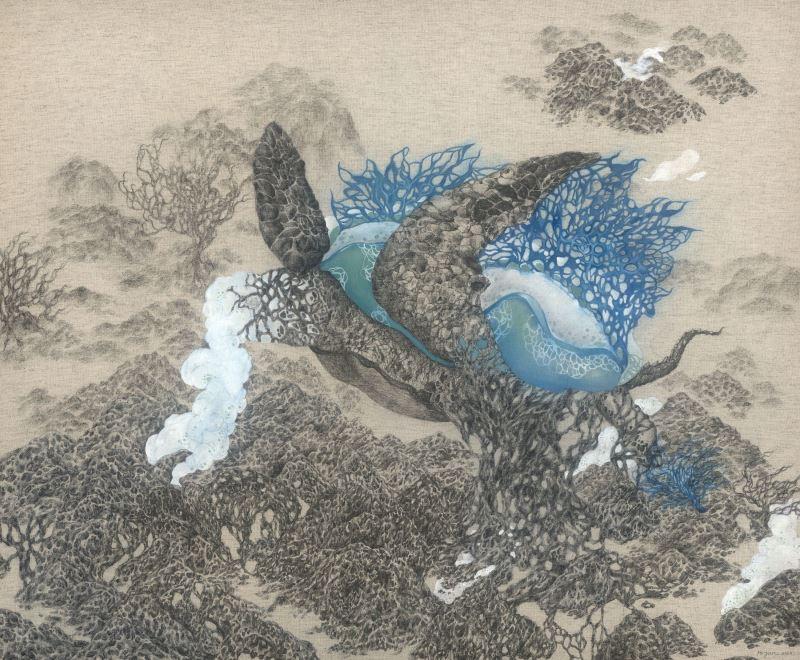 陳禾云 未定的棲地島-1 布料、水性原子筆、壓克力65×80cm 2020