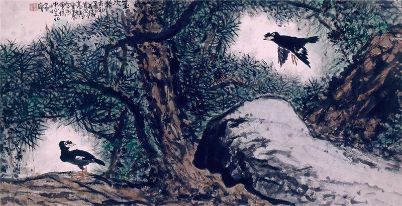 鄭善禧〈八哥〉1983 水墨、紙本 69×133 cm