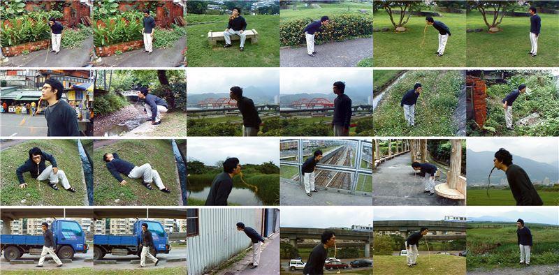 崔廣宇〈十八銅人,穿透,自發性〉2001 行動紀錄/單頻道錄像 1 分 25 秒