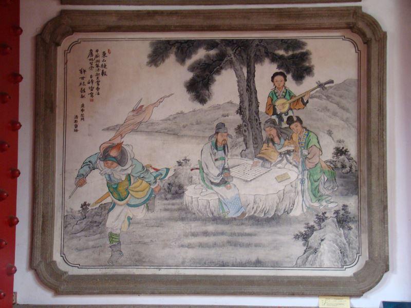 陳玉峰在國定古蹟臺南大天后宮所繪作品,述說的是淝水之戰的歷史故事。