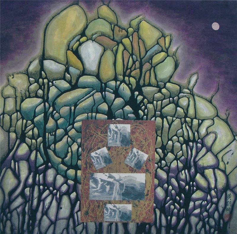 黃朝湖〈紫色囈語〉2009 水墨設色、紙本 66×67 cm