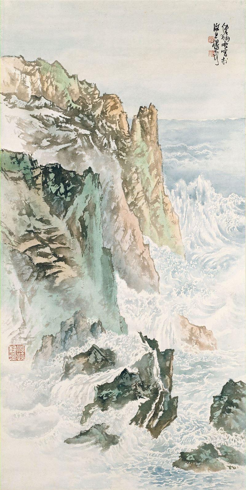 傅狷夫〈奔濤捲雪〉1968 彩墨、紙本 181×90.2 cm