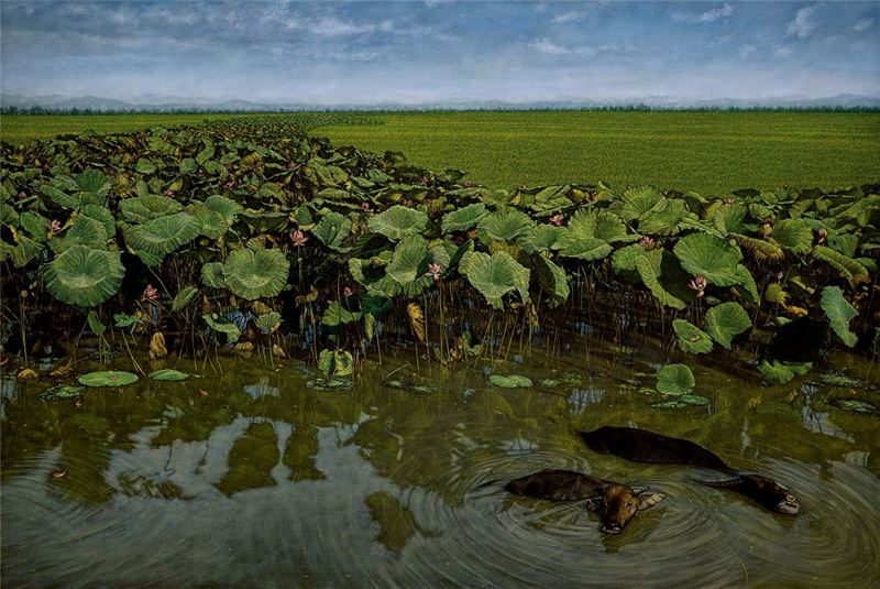 HUANG Ming-Chang〈Cattle Bathing in the Lotus Pond (Paddy and Lotus Series)〉 2002 Oil on canvas 130×194 cm