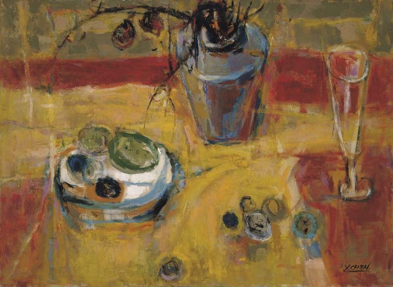 陳銀輝作品〈靜物〉,1979年,油畫,53x72公分,國立台灣美術館典藏