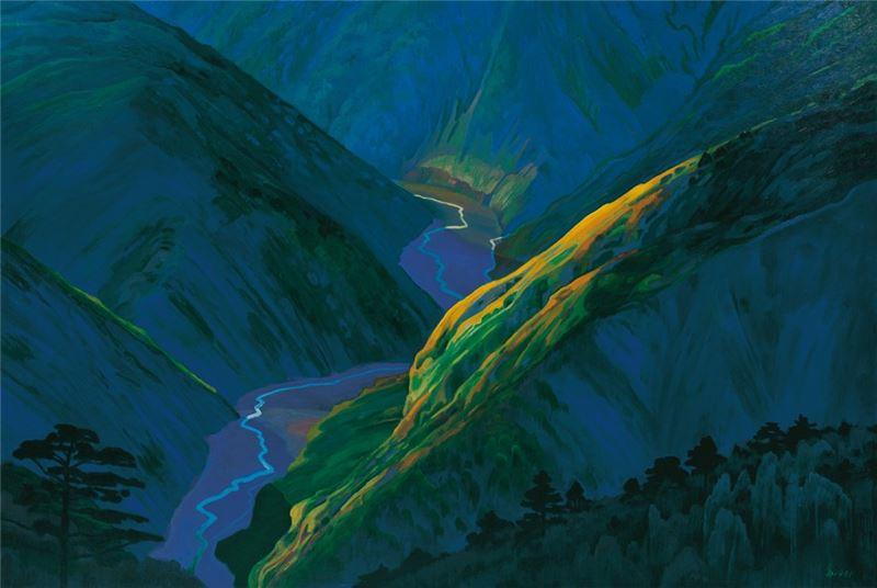 林惺嶽〈山谷〉1991 油彩、畫布 129.5×193.5 cm