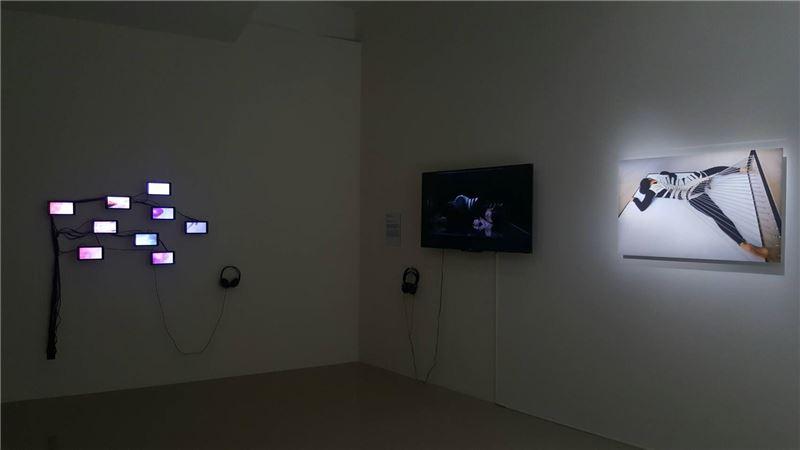 傅雅雯,活著,2014,攝影、媒體裝置表演紀錄影像(展場照),左牆面為黃盟欽作品