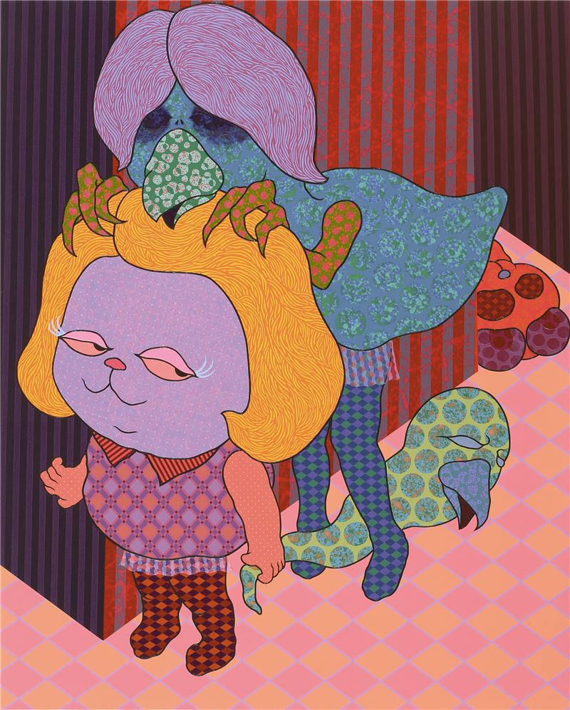 廖堉安〈蹩腳的小遊行 No.1〉2009 壓克力顏料、畫布 162×130 cm