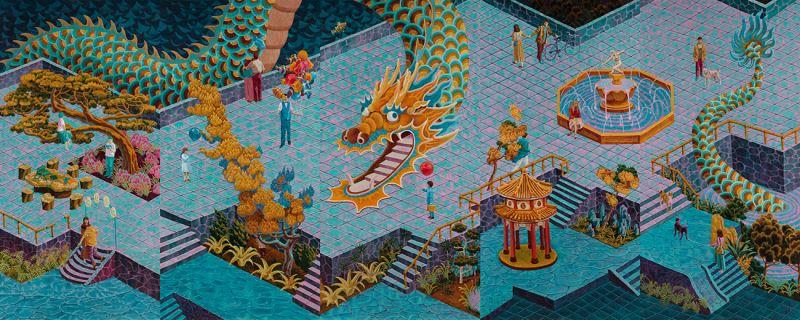 孫培懋,〈情人節那一天的蟠龍園〉,2019,壓克力畫布,180×90_公分(5組件)。藝術家及伊日藝術提供
