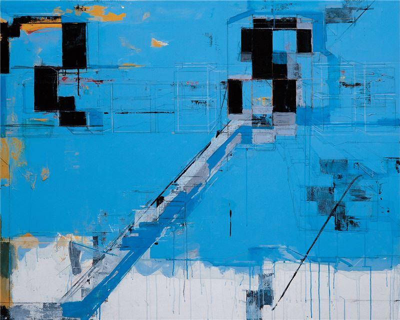陳建榮〈Sky Blue XIII〉2008 壓克力顏料、畫布、複合媒材 130×162 cm