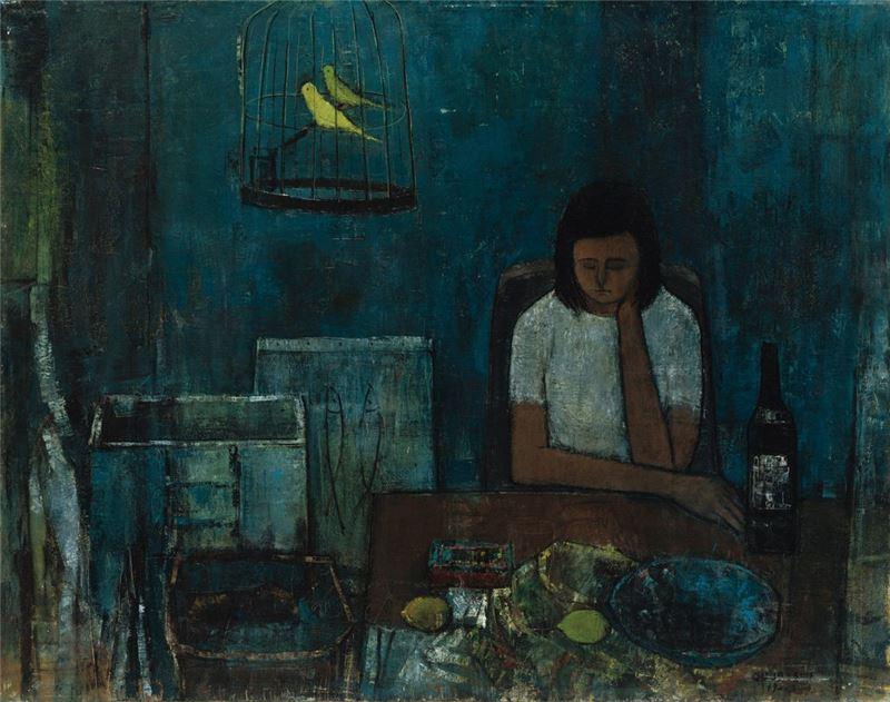 潘朝森〈沉思的少女〉1970 油彩、畫布 91×116 cm