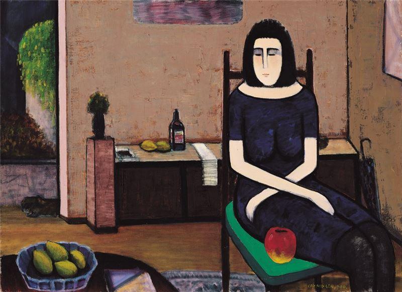 潘朝森〈蘋果與黑襪〉1990 油彩、畫布 59×71 cm