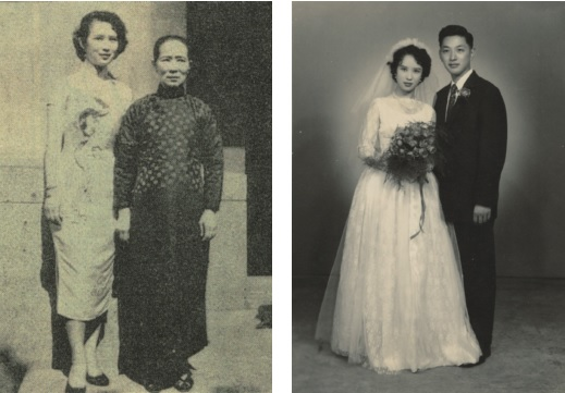 1957: Engagement day with mother (left), and wedding day with husband Kuo Yu-lung (right).