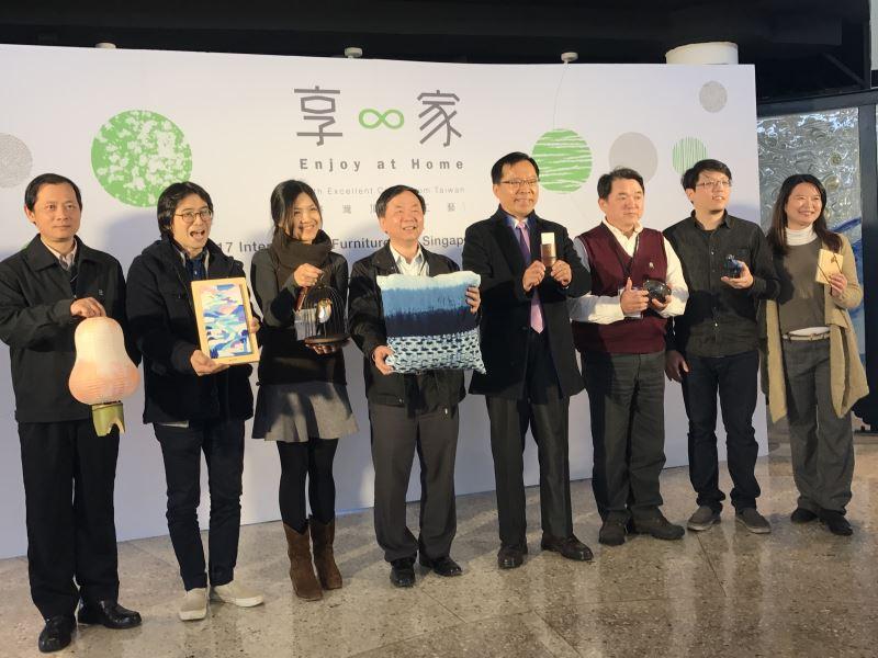工藝中心許耿修主任與台北分館郭哲旭分館長於展前一週邀請7家參展廠商共同辦理展前記者會。