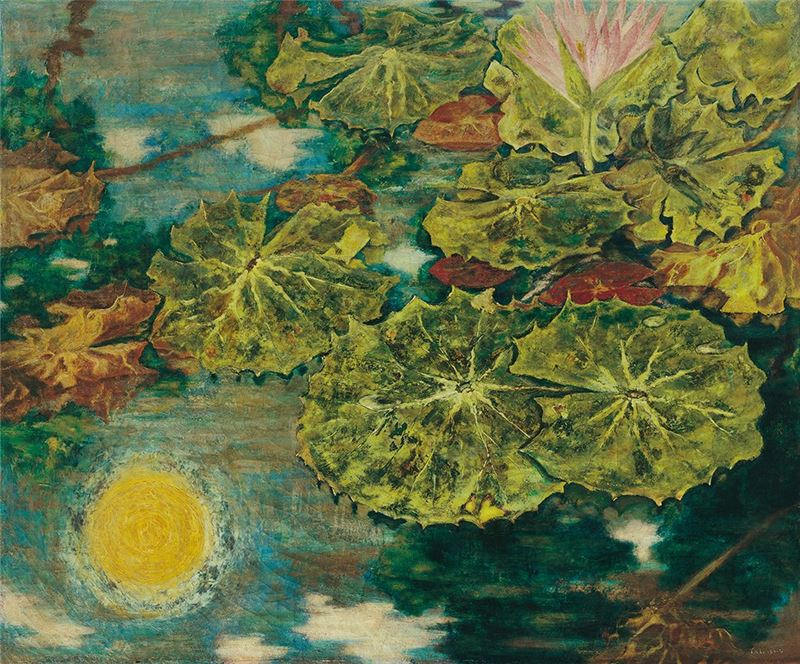 TATEISHI Tetuomi〈The Water Lily Pond with the Reflection of the Sun〉1942  Oil on canvas  60.9×72.5 cm