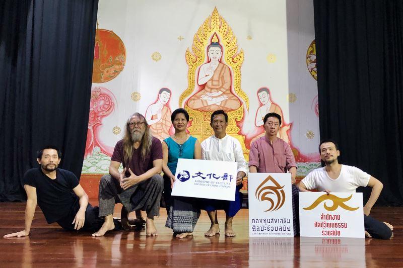 Rama's House 泰國象劇場階段性呈現,演後合影,皮歇·克朗淳、陳武康與四位傳統舞大師