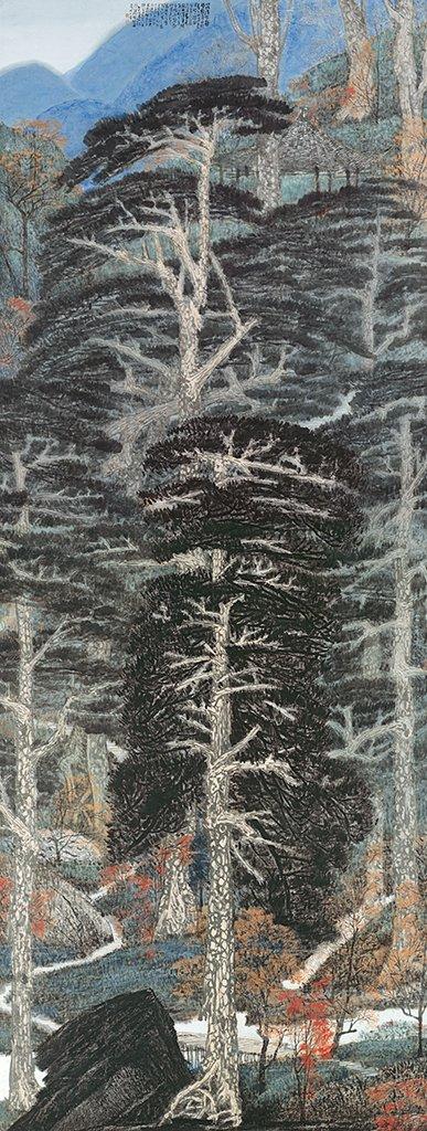 李義弘〈陽明山二子坪〉1997  彩墨、紙本  508.6×189.7 cm