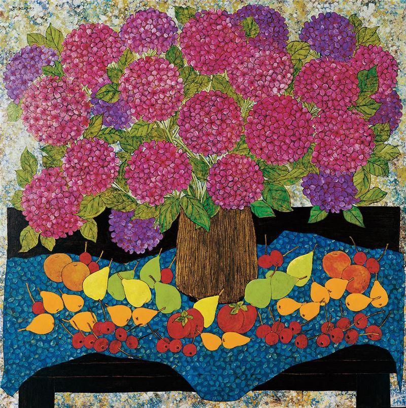 吳昊〈繡球花與水果〉1992 油彩、畫布 106.5×106.5 cm