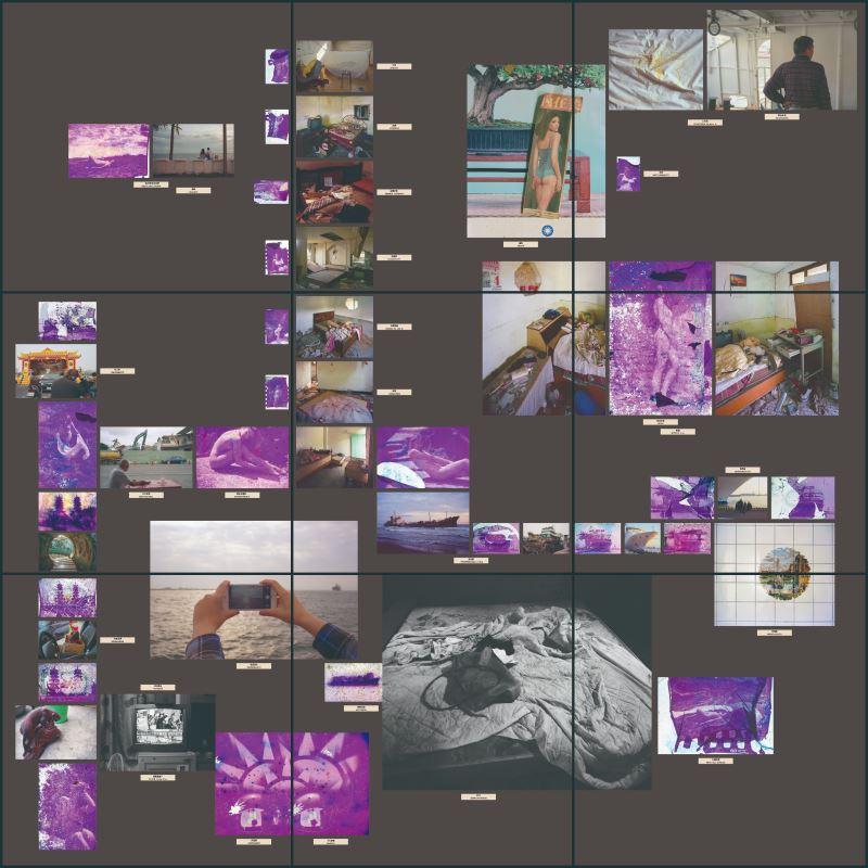呂易倫,〈雙重解離—物理質變成為想像的詩〉,2017,拾得幻燈片掃描噴墨輸出於ILFORD RC相紙、無酸噴墨輸出於ILFORD RC 相紙、文字,73.5×73.5cm×9件。_107年全國美展攝影類金牌獎