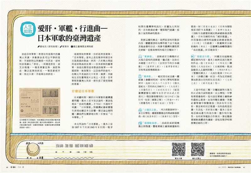 021你知道「愛肝」是日本軍歌改的嗎?本文介紹各式日本軍歌,你會發現有好多到現在都還聽的到?光看文字不過癮,刊中的QRcode還能直接連線聽歌!