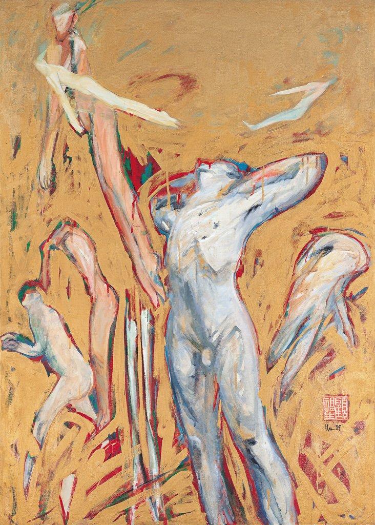 顧福生〈熱〉1985 油彩、畫布 125.5×89 cm