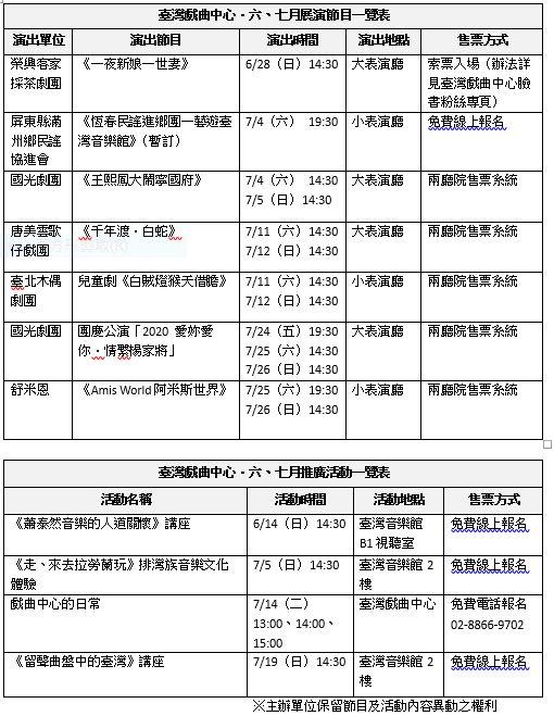 演出活動一覽表