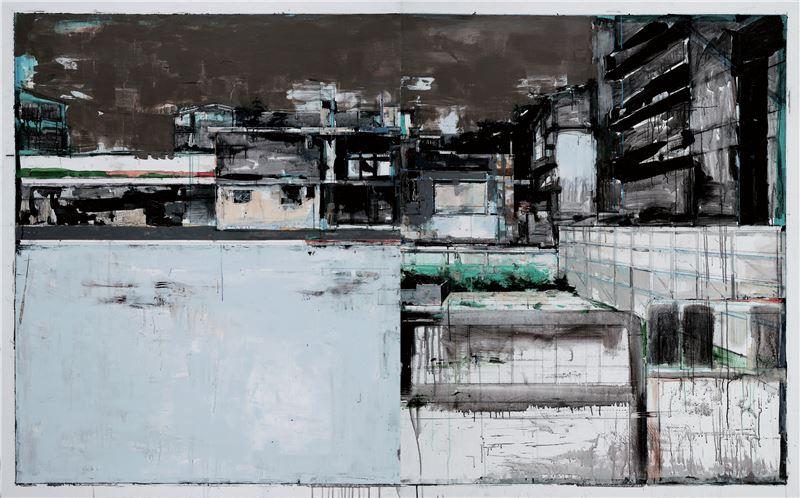 陳建榮〈Landscape 78〉2012 壓克力顏料、畫布、複合媒材 162×260 cm