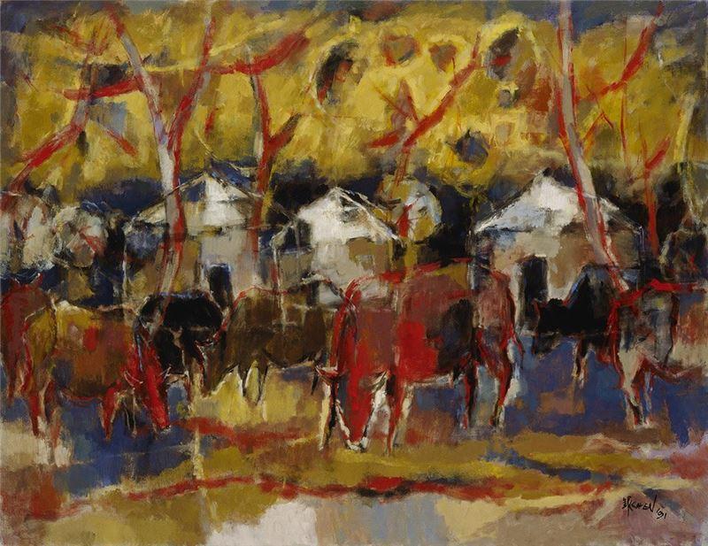 陳銀輝〈哈族牧區〉1991 油彩、畫布 112×145 cm