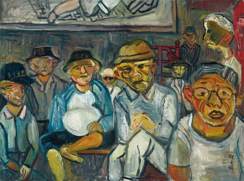 陳來興〈天后宮老人〉1989 油彩、畫布 97×130 cm