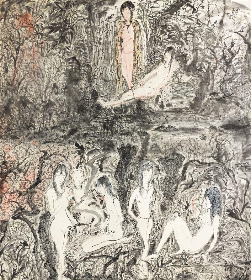 于彭〈慾望山水〉2012 彩墨、紙 108.5×96.5 cm