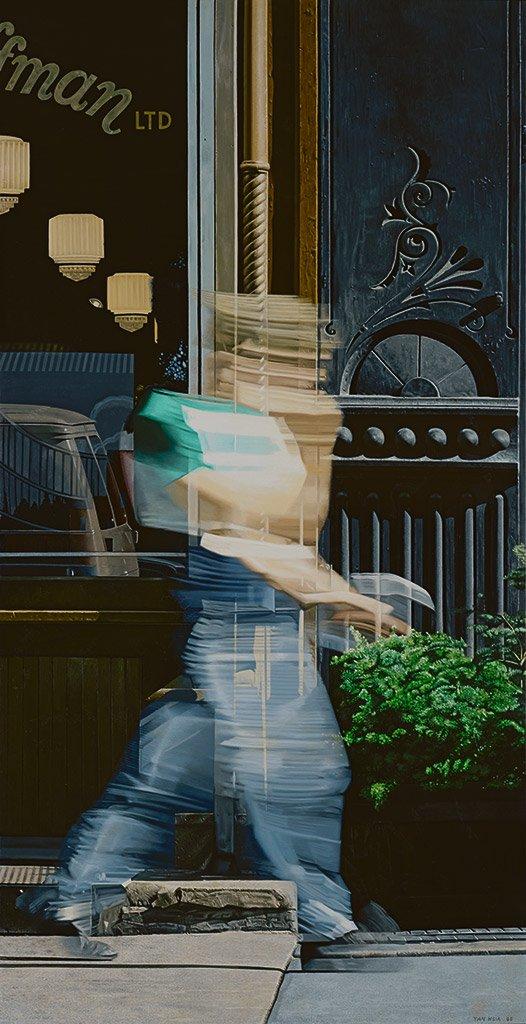 夏陽〈穿牛仔褲的人〉1985 油彩、畫布 228.6×116.9 cm