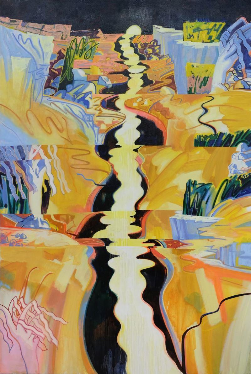 蘇予昕,〈河流摺,日落谷〉,2018,油彩、壓克力顏料、麻布,240 x 160 公分。藝術家提供。