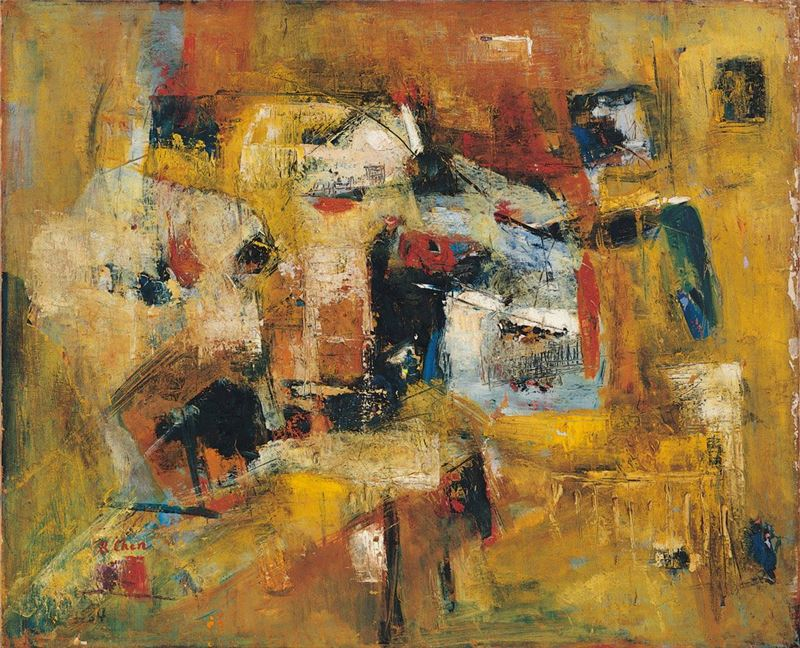 Chen Jeng-shiung〈Time-honored Houses〉1960  Oil on canvas 86.5×106.5 cm