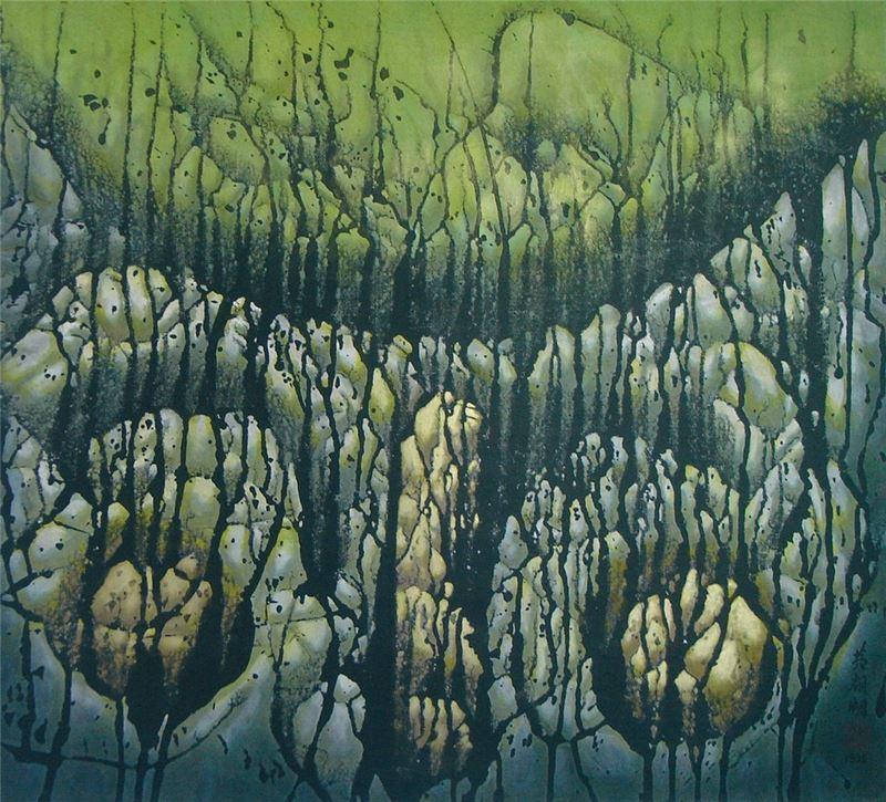 黃朝湖〈凝視的時空〉1995 水墨設色、紙本 62×69 cm