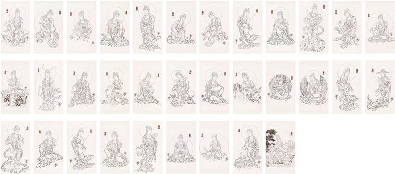 奚淞〈三十三白描觀音菩薩〉2010 水墨、紙本 200×90 cm×33 pieces