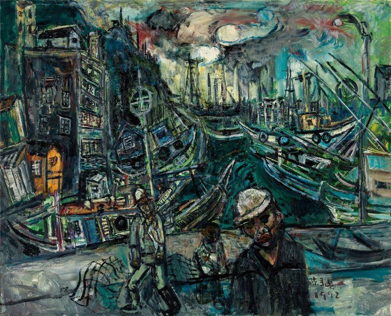 陳來興〈萬里漁港〉1992 油彩、畫布 120×162 cm